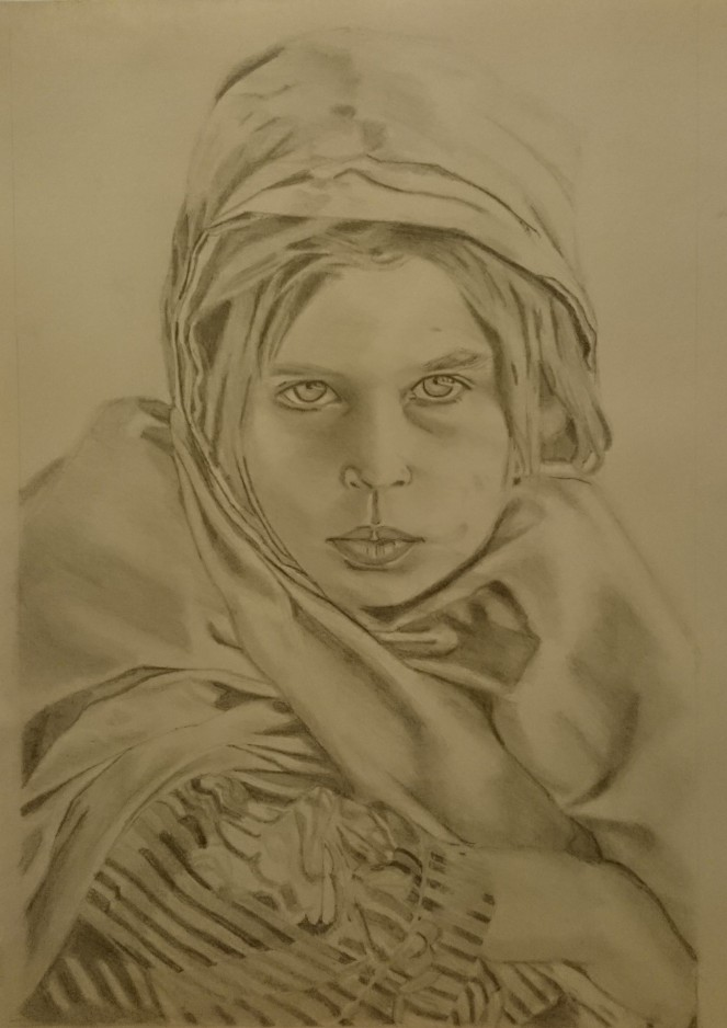 Pencil drawing from Steve McCurry photograph